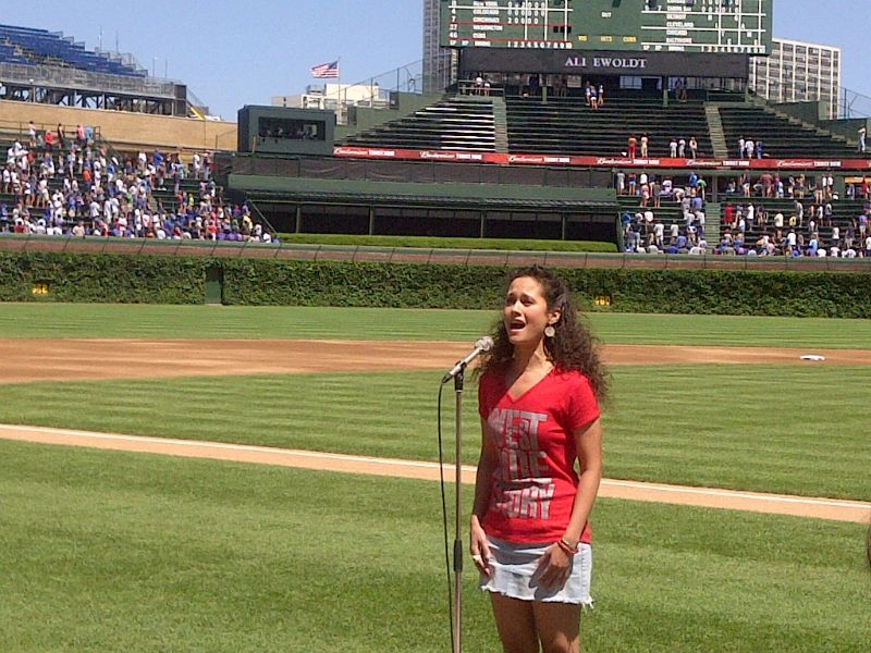 Singing the National Anthem at Wrigley Field in Chicago